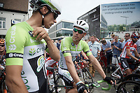 Cyclocross legend Sven Nys (BEL/Crelan-AAdrinks) at the start of the national road race championships with teammate/friend Sven Vanthourenhout (BEL/Crelan-AADrinks)<br /> <br /> Belgian Championships 2015