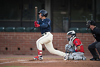 Mobile BayBears Jahmai Jones (15) at bat in front of catcher Rodrigo Vigil (1) and umpire Matt Winter during a Southern League game against the Jacksonville Jumbo Shrimp on May 8, 2019 at Hank Aaron Stadium in Mobile, Alabama.  Jacksonville defeated Mobile 7-1.  (Mike Janes/Four Seam Images)