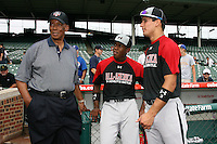 August 7, 2009:  Hall of Fame member Ernie Banks talks with Under Armour All-America team members J.D. Williams and Cayle Shambaugh at Wrigley Field in Chicago, IL.  Photo By Mike Janes/Four Seam Images