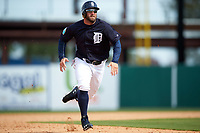 Detroit Tigers right fielder Tyler Collins (18) running the bases during an exhibition game against the Florida Southern Moccasins on February 29, 2016 at Joker Marchant Stadium in Lakeland, Florida.  Detroit defeated Florida Southern 7-2.  (Mike Janes/Four Seam Images)