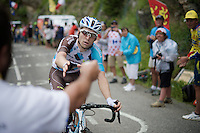 Jan Bakelants (BEL/Ag2r-LaMondiale) accepting a coke from a bystander up the Mont&eacute;e de Bisanne (HC/1723m/12.4km/8.2%)<br /> <br /> Stage 19:  Albertville &rsaquo; Saint-Gervais /Mont Blanc (146km)<br /> 103rd Tour de France 2016