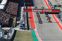 3rd November 2019; Circuit of the Americas, Austin, Texas, United States of America; Formula 1 United Sates Grand Prix, race day; Mercedes AMG Petronas Motorsport, Valtteri Bottas leads the race start from the grid
