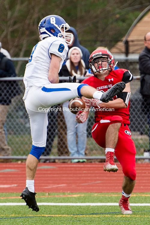 CHESHIRE, CT - 25 November 2015-112615EC04-- Cheshire's Andrew Criscuolo is unable to complete a pass next to Southington's Austin Morin, who was called for interference. Southington won, 36-29. Erin Covey Republican-American.