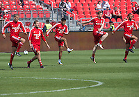 18 May 2013: Toronto FC players warm-up during an MLS game between the Columbus Crew and Toronto FC at BMO Field in Toronto, Ontario Canada..The Columbus Crew won 1-0...