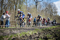 In his first ever Roubaix, Tony Martin (DEU/Etixx-Quickstep) pilots/propells 4-time champion Tom Boonen (BEL/Etixx-QuickStep) through the Trouée d'Arenberg - Wallers Forest (2.4km)<br /> <br /> 114th Paris-Roubaix 2016