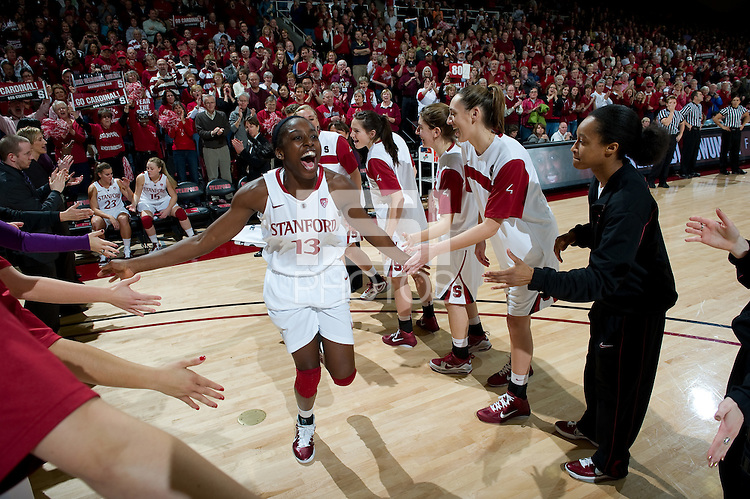 STANFORD CA-DECEMBER 30, 2010: Chiney Ogwumike takes the court before the Stanford 71-59 victory over UCONN at Maples Pavilion.