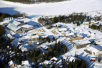 The village of Shageluk can be seen from above in the morning on Saturday March 9, 2013...Iditarod Sled Dog Race 2013..Photo by Jeff Schultz copyright 2013 DO NOT REPRODUCE WITHOUT PERMISSION