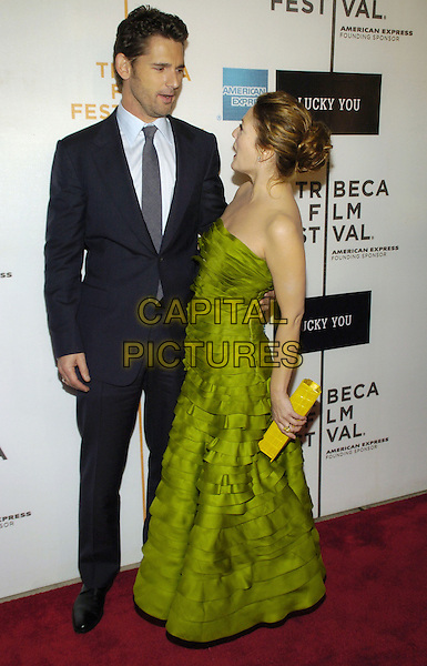 "ERIC BANA & DREW BARRYMORE.6th Annual Tribeca Film Festival - ""Lucky You""  World Premiere held at the Borough of Manhattan Community College, New York City, New York, USA..May 1st, 2007.full length strapless green ruffle layered ruffles dress yellow clutch bag suit black funny profile .CAP/ADM/BL.©Bill Lyons/AdMedia/Capital Pictures *** Local Caption ***"