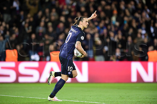 06.04.2016. Paris, France. UEFA CHampions League, quarter-final. Paris St Germain versus Manchester City.   Goal celebrations from Zlatan Ibrahimovic (PSG)