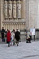 Beggars outside Notre Dame Paris..©shoutpictures.com.john@shoutpictures.com