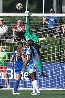Allston, MA - Saturday August 19, 2017: Allysha Chapman, Abby Smith, Chioma Ubogagu during a regular season National Women's Soccer League (NWSL) match between the Boston Breakers and the Orlando Pride at Jordan Field.