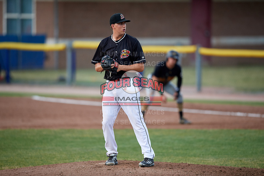 Batavia Muckdogs relief pitcher Tyler Mitzel (40) gets ready to deliver a pitch during a game against the West Virginia Black Bears on July 2, 2018 at Dwyer Stadium in Batavia, New York.  West Virginia defeated Batavia 3-1.  (Mike Janes/Four Seam Images)
