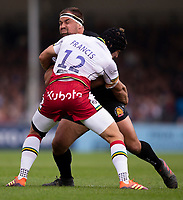 Exeter Chiefs' Ben Moon is tackled by Northampton Saints'  Piers Francis<br /> <br /> Photographer Bob Bradford/CameraSport<br /> <br /> Gallagher Premiership - Exeter Chiefs v Northampton Saints - Saturday 18th May 2019 - Sandy Park - Exeter<br /> <br /> World Copyright © 2019 CameraSport. All rights reserved. 43 Linden Ave. Countesthorpe. Leicester. England. LE8 5PG - Tel: +44 (0) 116 277 4147 - admin@camerasport.com - www.camerasport.com