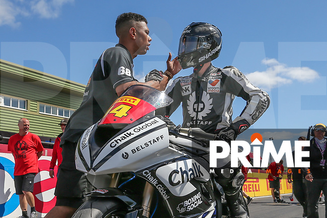 Tim Neave of the Neave Twins team (No. 14) prepares for the Pirelli National Superstock 600 Championship race for during Round 5 of the 2017 MCE British Superbikes Championship  at Snetterton Circuit, Norwich, England on 2 July 2017. Photo by David Horn.