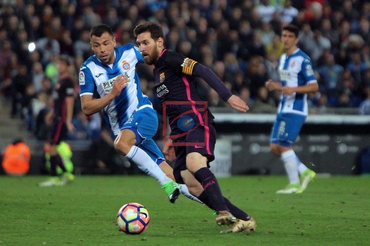 League Santander 2016/2017. Game: 35.<br /> RCD Espanyol vs FC Barcelona: 0-3.<br /> Javi Fuego vs Lionel Messi.