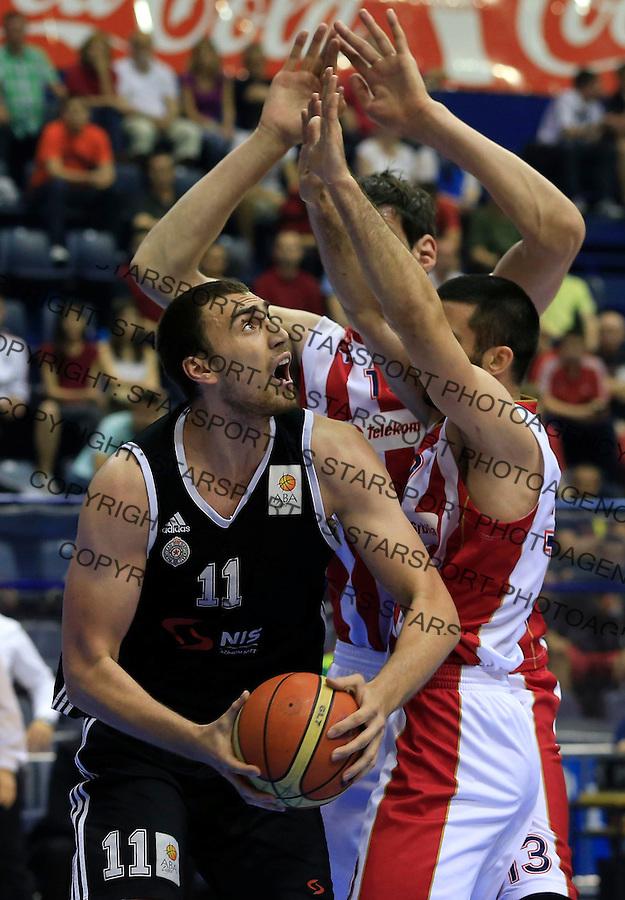 Kosarka Kosarkaska Liga Srbije season 2014-2015<br /> Crvena Zvezda v Partizan<br /> Nikola Milutinov (L) and Branko Lazic<br /> Belgrade, 05.17.2015.<br /> foto: Srdjan Stevanovic/Starsportphoto &copy;
