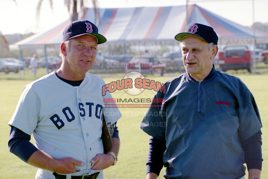 Lee Stange and Frank Malzone during the Boston Red Sox Fantasy camp circa 1990 at Chain of Lakes Park in Winter Haven, Florida.  (MJA/Four Seam Images)