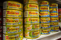 Cans of tuna for the Hispanic market in a supermarket in New York on Thursday, June 13, 2013. (© Richard B. Levine)