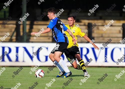 2014-07-26 / Voetbal / seizoen 2014-2015 / Berchem Sport - Rupel-Boom / Bjorn Cornelissens (l. R-B) met Franky Pelgrims<br /><br />Foto: mpics.be