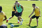 Getafe's Mathias Olivera, David Timor and Jaime Mata during training session. May 19,2020.(ALTERPHOTOS/Acero)