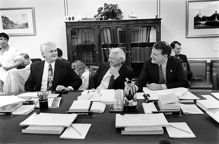 Rep. Ron Packard, R-Calif., Rep. Don Young, R-Alaska and C. Taylor before a Legislative Apportionment mark-up on May 27, 1993. (Photo by Laura Patterson/CQ Roll Call)