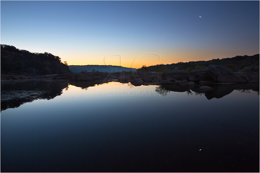 About 45 minutes before sunrise, you can take a long exposure when you have a clear sky and the image will yield a deep blue into the heavens. In this example from the Hill Country's Pedernales Falls State Park, I also had a soft orange glow on the horizon of the Texas landscape. The crescent moon rising in the east was a nice addition as well.