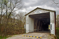Storm clouds gather over the Rob Roy Covered Bridge in Fountain County, Indiana