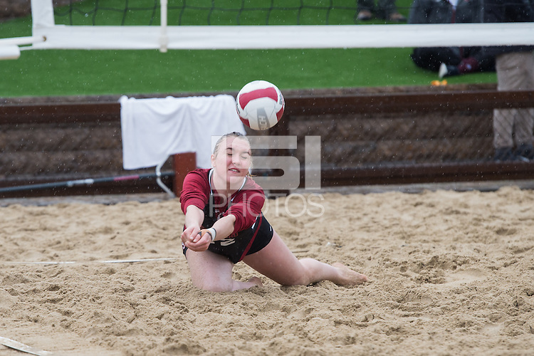Stanford, CA, March 5, 2016<br /> Stanford Women's Sand Volleyball vs.SJSU at ACSR Sand Courts. Stanford won 3-2.