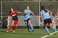 Piscataway, NJ - Saturday July 23, 2016: Estefania Banini, Catherine Zimmerman, Erica Skroski during a regular season National Women's Soccer League (NWSL) match between Sky Blue FC and the Washington Spirit at Yurcak Field.