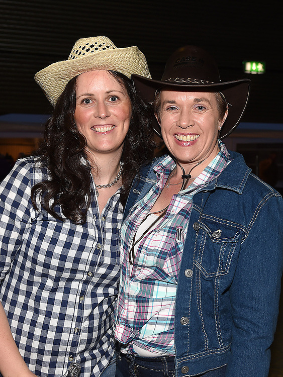 Mandy O'Connor and Olivia Walsh pictured at the barn dance at Oberstown farm. Photo:Colin Bell/pressphotos.ie