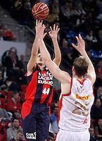 Caja Laboral Baskonia's Nemanja Bjelica (l) and CAI Zaragoza's Henk Norel during Spanish Basketball King's Cup match.February 07,2013. (ALTERPHOTOS/Acero)
