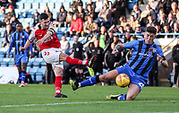 Fleetwood Town's Jason Holt has his shot blocked by  Gillingham's Darren Oldaker<br /> <br /> Photographer Andrew Kearns/CameraSport<br /> <br /> The EFL Sky Bet League One - Gillingham v Fleetwood Town - Saturday 3rd November 2018 - Priestfield Stadium - Gillingham<br /> <br /> World Copyright © 2018 CameraSport. All rights reserved. 43 Linden Ave. Countesthorpe. Leicester. England. LE8 5PG - Tel: +44 (0) 116 277 4147 - admin@camerasport.com - www.camerasport.com