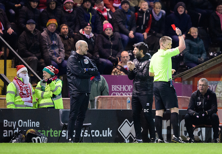 Lincoln City manager Danny Cowley is shown a red card by referee Thomas Bramall<br /> <br /> Photographer Chris Vaughan/CameraSport<br /> <br /> The EFL Sky Bet League Two - Lincoln City v Newport County - Saturday 22nd December 201 - Sincil Bank - Lincoln<br /> <br /> World Copyright © 2018 CameraSport. All rights reserved. 43 Linden Ave. Countesthorpe. Leicester. England. LE8 5PG - Tel: +44 (0) 116 277 4147 - admin@camerasport.com - www.camerasport.com