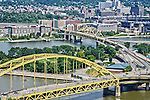 Double decker bridges crossing the Point over the Allegheny and Monongahela Rivers in Pittsburgh.