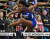 Olivia Nelson of Valley Stream Central wins the girls' 55 meter high hurdles race during a Nassau County winter track & field meet at St. Anthony's High School in South Huntington on Tuesday, Dec. 19, 2017. She posted a time of 9.54.