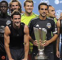 MLS All-Stars Chris Pontius with Dwayne De Rosario posing after the victory. The MLS All Stars Team defeated Chelsea FC 3-2 at PPL Park Stadium, Wednesday 25, 2012.