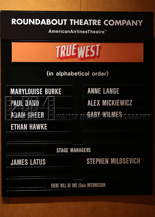 "Lobby Cast Board during the Broadway Opening Night Curtain Call for the Roundabout Theatre Production of ""True West"" at the American Airlines Theatre on January 24, 2019 in New York City."