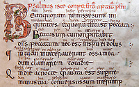 BNPS.co.uk (01202 558833)<br /> Pic: PhilYeomans/BNPS<br /> <br /> Latin with Anglo-Saxon annotations.<br /> <br /> Woman's touch - 1000 year old book from the Royal Anglo-Saxon Convent of Wilton is conserved.<br /> <br /> The ancient book was returned safely to Salisbury Cathedral after fears of a lockdown led to a hastily arranged emergency dash from the conservators in Cambridge.<br /> <br /> Dating from the 10th century the incredibly rare Psalter is fascinating to medieval scholars for two reasons - it is thought to have been used and adapted by women, and it's latin text has been annotated into early English to aid the understanding of the Anglo Saxon noviates who would have studied it.<br /> <br /> Prof Teresa Webber from Cambridge University notes  'The vast majority of surviving medieval monastic manuscripts survive from communities of monks or canons, but at some point early in its history this psalter was clearly adapted for use by a woman, only a handful of such manuscripts survive to this day'.<br /> <br /> This is likely to indicate the book was in use by the nuns of the Benedictine Convent at nearby Wilton expanded by Alfred the Great after a famous victory against the Viking invaders in 871.