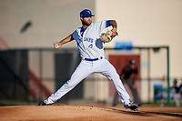 Dunedin Blue Jays starting pitcher Turner Larkins (23) during a Florida State League game against the Lakeland Flying Tigers on April 18, 2019 at Jack Russell Memorial Stadium in Clearwater, Florida.  Dunedin defeated Lakeland 6-2.  (Mike Janes/Four Seam Images)
