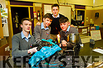 Eamon O'Connor, Ciarán Mulvihill and Óisin Prendiville Browne students of Tarbert Comprehensive School with their teacher Gerard Nash getting in some work as they prepare for this years  Young Scientist exhibition in Dublin.