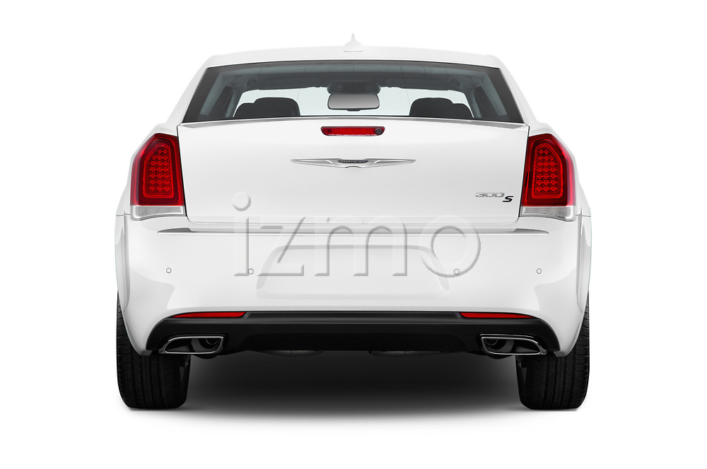 Straight rear view of a 2019 Chrysler 300 S 4 Door Sedan stock images