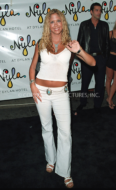 Singer Samantha Cole arrives at the opening of Britney Spears' restaurant Nyla at New York's Dylan Hotel. June 27, 2002. Please byline: Alecsey Boldeskul/NY Photo Press.   ..*PAY-PER-USE*      ....NY Photo Press:  ..phone (646) 267-6913;   ..e-mail: info@nyphotopress.com