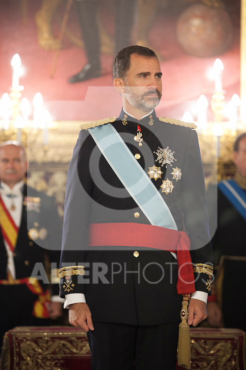 King of Spain Felipe VI receives and gives credential letters to Estonia Republic´s ambassador Ramus Lumi at Royal Palace `Palacio Real´in Madrid, Spain. October 06, 2014. (ALTERPHOTOS/Victor Blanco)