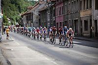 Maxime Monfort (BEL/Lotto-Soudal) leading the peloton through town. <br /> <br /> Stage 7: Belfort to Chalon-sur-Saône (230km)<br /> 106th Tour de France 2019 (2.UWT)<br /> <br /> ©kramon