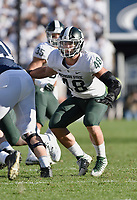 STATE COLLEGE, PA - OCTOBER 13: Michigan State DE Kenny Willekes (48) rushes the quarterback. The Michigan State Spartans defeated the Penn State Nittany Lions 21-17 on October 13, 2018 at Beaver Stadium in State College, PA. (Photo by Randy Litzinger/Icon Sportswire)