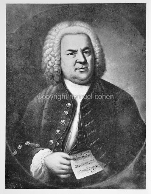 Portrait of Johann Sebastian Bach, 1685-1750, German Baroque composer, holding a musical score, painting, 1746, by Elias Gottlob Haussmann, 1695-1744, German Baroque painter. Copyright © Collection Particuliere Tropmi / Manuel Cohen