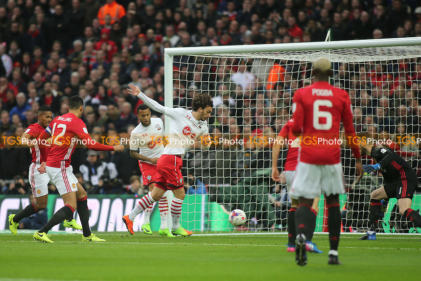 Manolo Gabbiadini scores for Southampton, but it was ruled out for offside during Manchester United vs Southampton, EFL Cup Final Football at Wembley Stadium on 26th February 2017