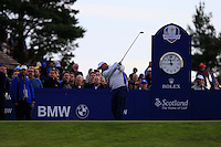 Thomas Bjorn (EUR) on the 4th tee during the Saturday Fourball Matches of the Ryder Cup at Gleneagles Golf Club on Saturday 27th September 2014.<br /> Picture:  Thos Caffrey / www.golffile.ie