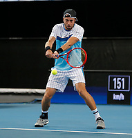 3rd January 2020; RAC Arena, Perth, Western Australia; ATP Cup Australia, Perth, Day 1, Russia versus Italy; Paolo Lorenzi of Italy plays a backhand shot from the baseline against Russia - Editorial Use