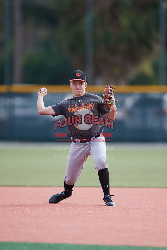 Jason Spezzaferra (59), from Maywood, New Jersey, while playing for the Giants during the Baseball Factory Pirate City Christmas Camp & Tournament on December 29, 2017 at Pirate City in Bradenton, Florida.  (Mike Janes/Four Seam Images)